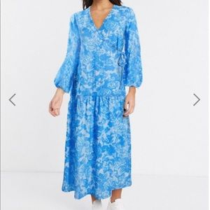 ASOS DESIGN wrap smock maxi dress in blue floral